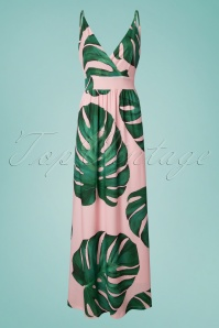 70s Janine Leaves Maxi Dress in Light Pink