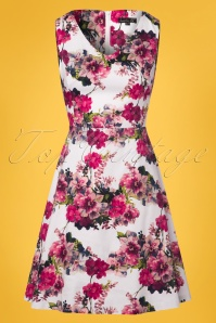60s Adele Floral Swing Dress in White and Pink