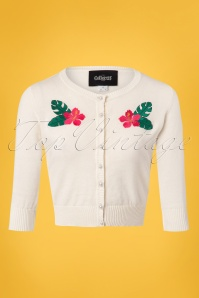 Collectif Clothing Lucy Tropical Hibiscus Cardigan in Ivory 23617 20171122 0003W