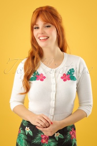 Collectif Clothing Lucy Tropical Hibiscus Cardigan in Ivory 23617 20171122 01W