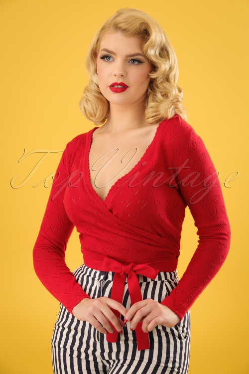 Collectif Clothing Darcy Wrap Around Cardigan in Red 22545 20171121 01W