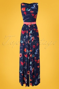 50s Delia Lee Floral Jumpsuit in Navy