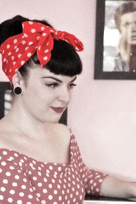 Vintage 50s Retro Polka Dot Hair Scarf in Red