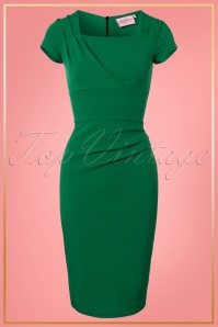 Vintage Chic Emeral Pleated Pencil Dress 25728 20180328 0002W