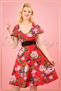 Vintage Chic Floral Tangerine Swing Dress 25726 20180328 0008W