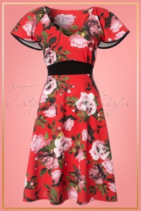 Vintage Chic Floral Tangerine Swing Dress 25726 20180328 0001W