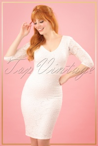 TopVintage Boutique Collection Vintage Chic Ivory Rose Lace Pencil Dress 25768 20180323 0098W