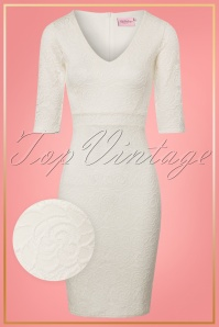 TopVintage Boutique Collection Vintage Chic Ivory Rose Lace Pencil Dress 25768 20180323 0003W1