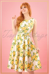 50s Sandra Floral Swing Dress in Yellow and White