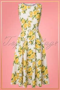 TopVintage Boutique Collection Lady V Hepburn Swing Dress in Yellow Flower 25088 20180323 0010W