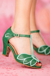 TopVintage Boutique Collection Ava T Strap in Green 24408 27032018 005W