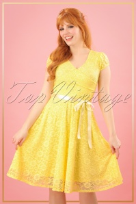 TopVintage Boutique Collection Vintage Chic Lemon Lace Swing Dress 25767 20180323 0009W