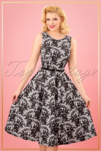 TopVintage Boutique Collection Lady V Hepburn Swing Dress Small Lace Floral Print 25089 20180323 0008W