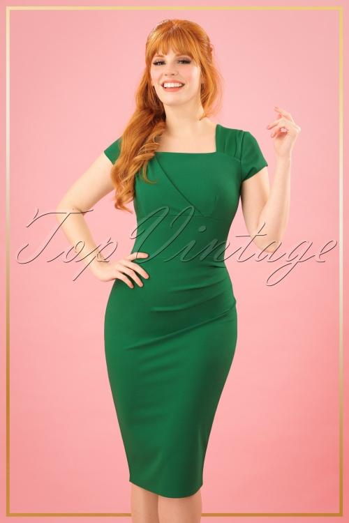 Vintage Chic Emeral Pleated Pencil Dress 25728 20180328 0006W