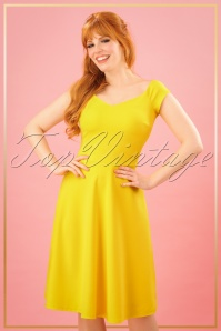 50s Fleur Swing Dress in Yellow