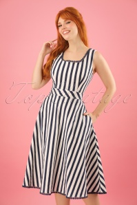 50s Lucille Striped Swing Dress in Navy and White