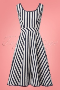 Collectif Clothing Lucille Striped Swing Dress in Navy 22789 20171122 0011w