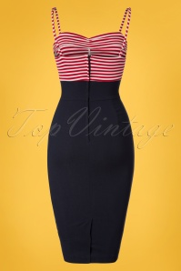 Bettie Page Clothing All Aboard Red White Sailor Pencil Dress 100 27 24984 20180328 0004W