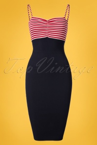 50s All Aboard Pencil Dress in Navy and Red