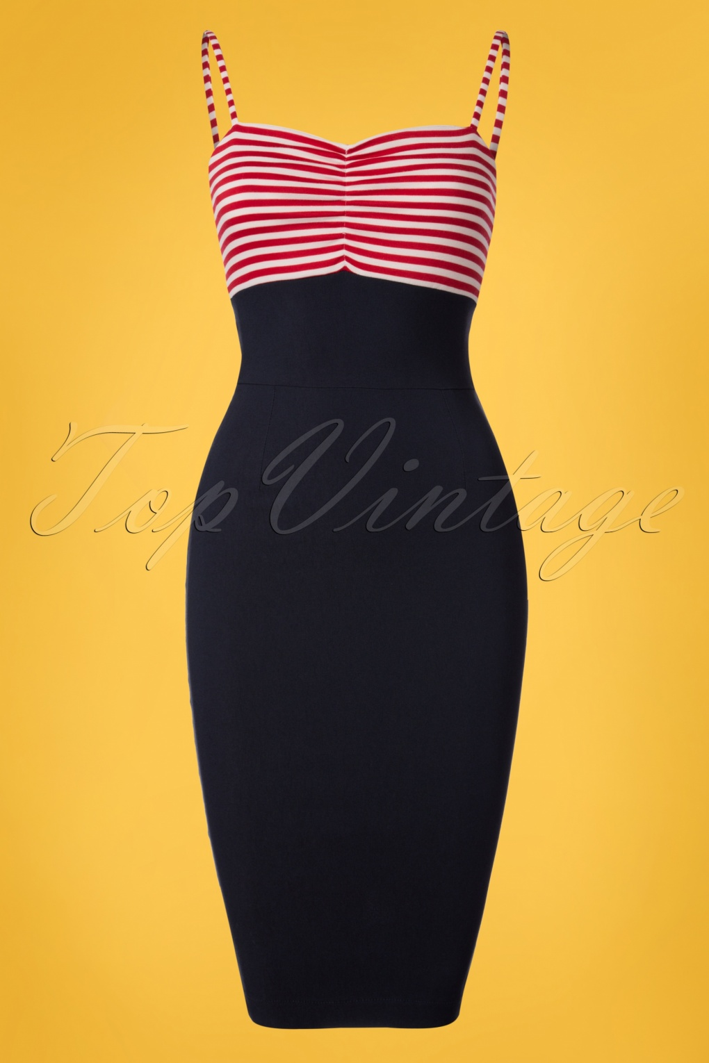 Sailor Dresses, Nautical Dress, Pin Up & WW2 Dresses 50s All Aboard Pencil Dress in Navy and Red £100.71 AT vintagedancer.com