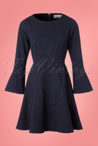 60s Polly Polkadot Fit and Flare Dress in Navy