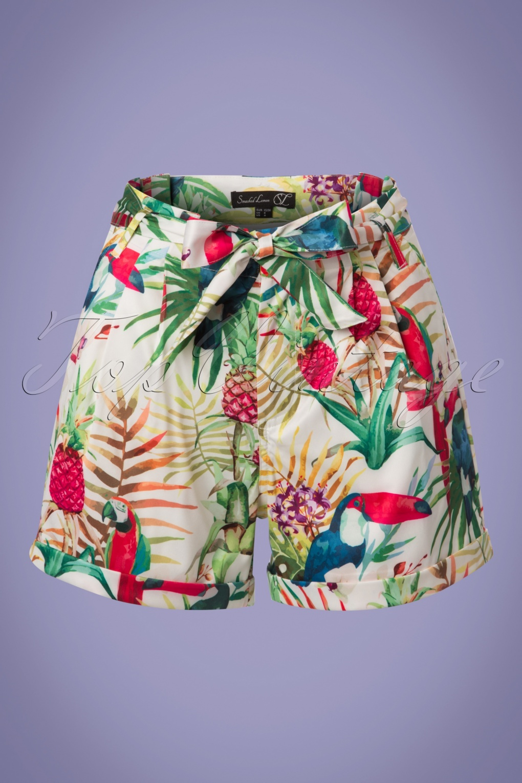 Vintage High Waisted Shorts   1950s Pinup, Rockabilly Shorts 60s Kellie Parrot Shorts in White £61.42 AT vintagedancer.com
