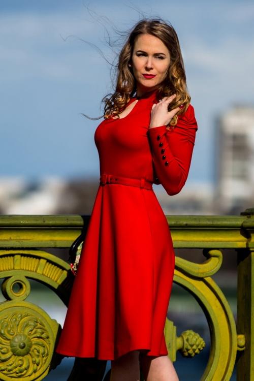 50s Dita Swing Dress in Lipstick Red