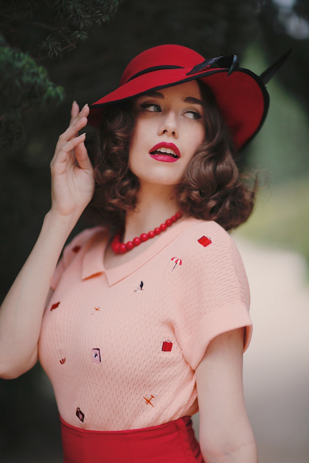 1950s Rockabilly & Pin Up Tops, Blouses, Shirts 50s Travel Collar Jumper in Blush £65.92 AT vintagedancer.com