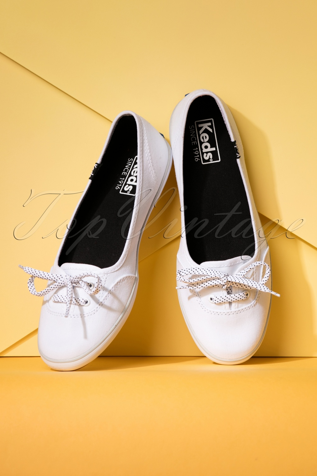 1950s Style Shoes 50s Teacup Canvas Sneakers in White £52.73 AT vintagedancer.com