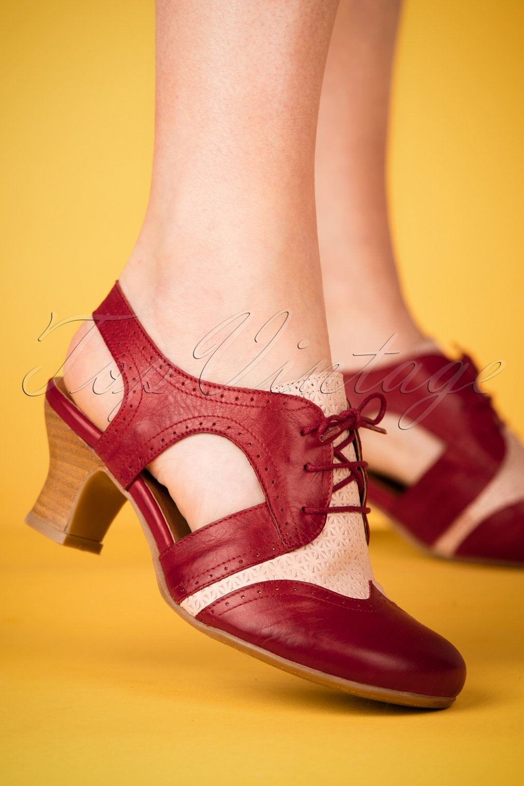 Vintage Sandals | Wedges, Espadrilles – 30s, 40s, 50s, 60s, 70s 40s Terry Lace Up Leather Pumps in Red £113.02 AT vintagedancer.com