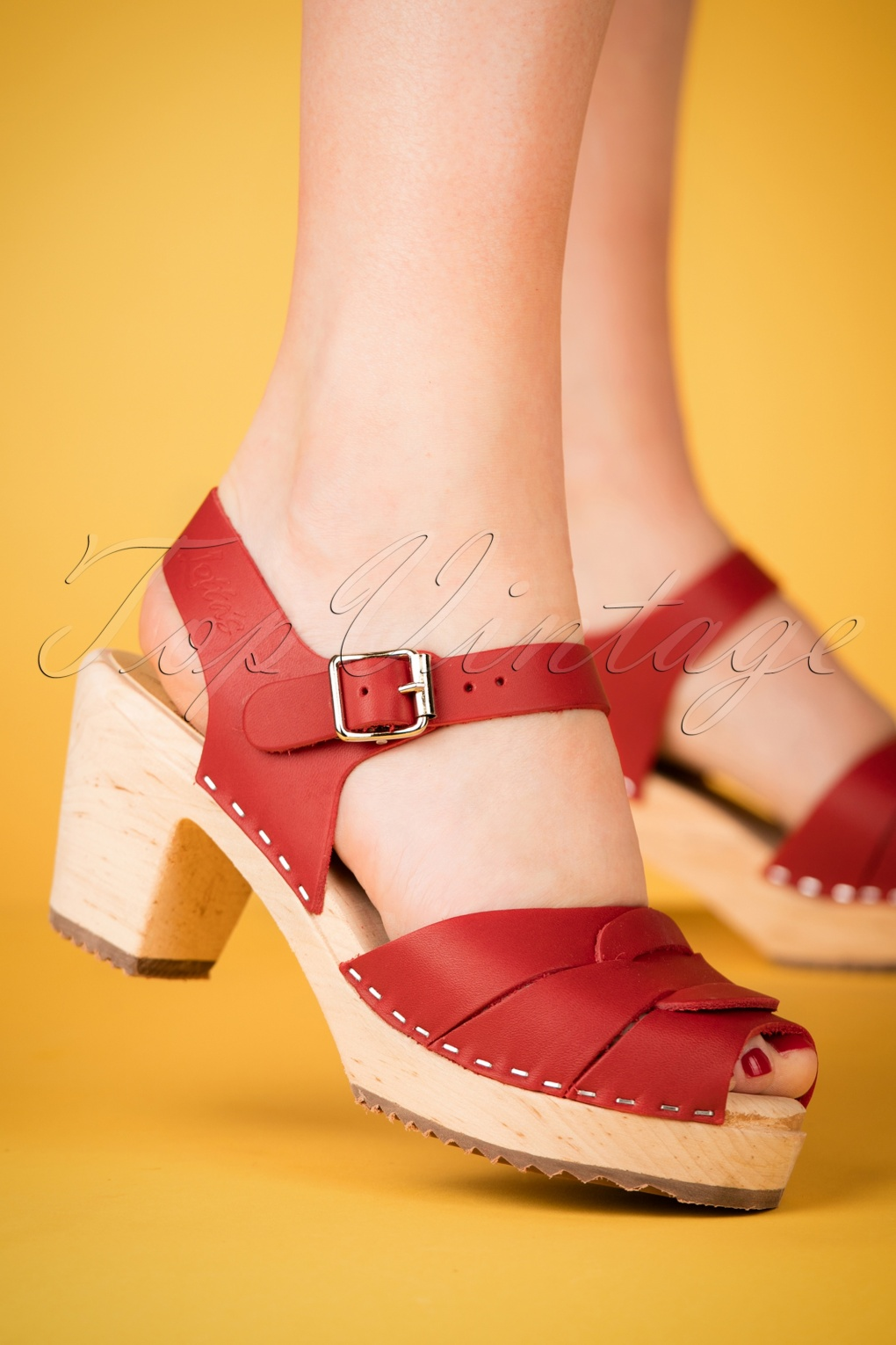 Vintage Style Shoes, Vintage Inspired Shoes 60s Loretta Leather Clogs in Red £70.32 AT vintagedancer.com