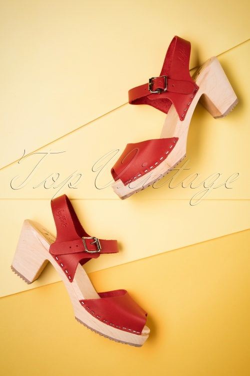 Peep Toe Clogs in Red Leather Lotta From Stockholm