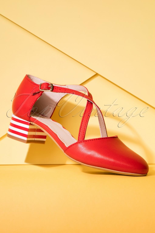 Vintage Style Shoes, Vintage Inspired Shoes 60s Rachel Leather Pumps in Red £158.27 AT vintagedancer.com