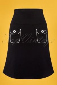 60s Flap Pocket Skirt in Black