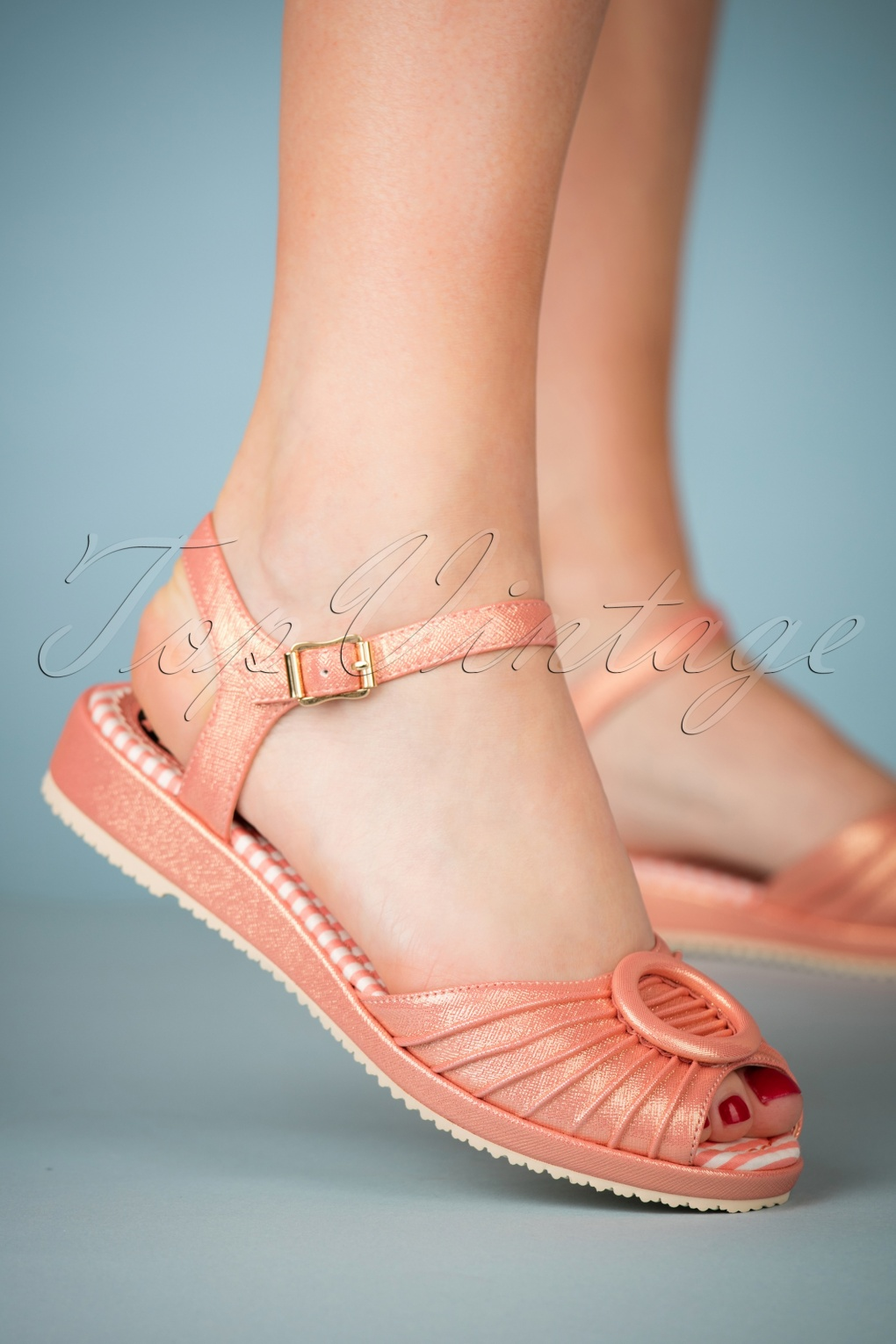 1950s Style Shoes 50s Adrianna Peeptoe Sandals in Peach £87.91 AT vintagedancer.com