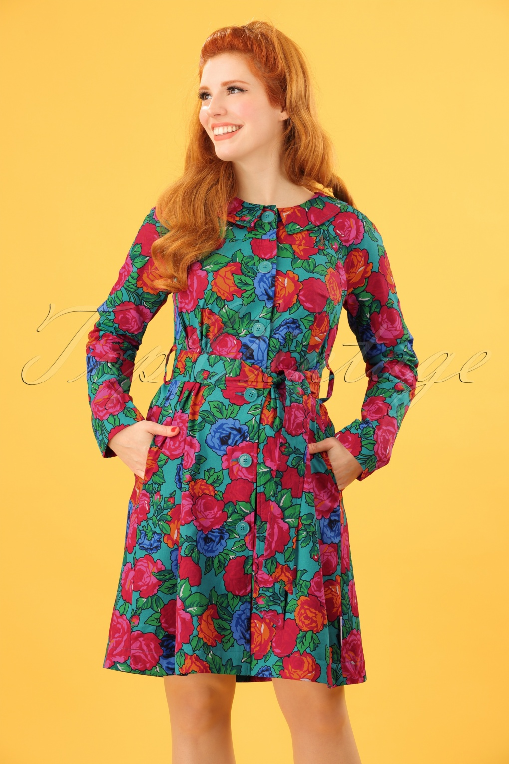 Vintage Coats & Jackets | Retro Coats and Jackets 60s Sunshine Of Mine Coat in Frida Flores £130.42 AT vintagedancer.com