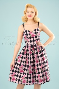 Bunny Harlequin 50s Dress in Black and Pink 102 14 24049 20180305 0017W