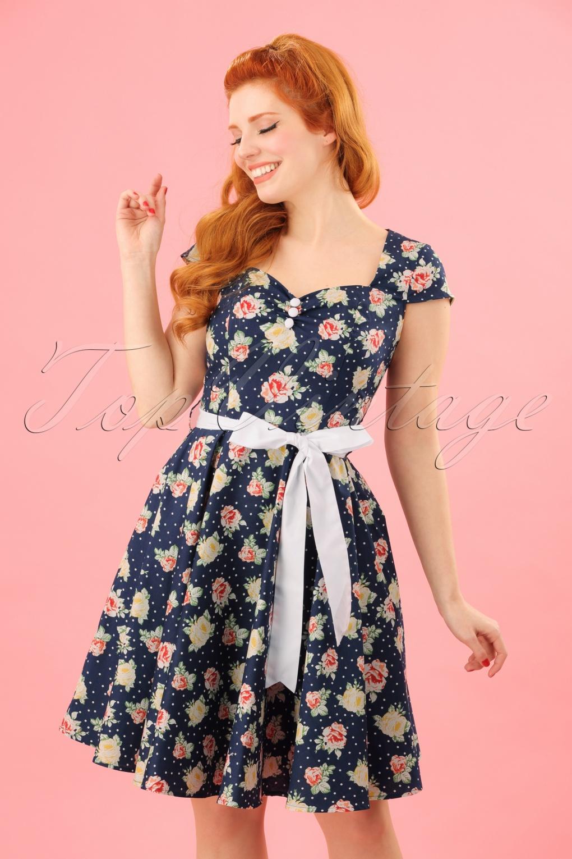 Vintage Tea Dresses, Floral Tea Dresses, Tea Length Dresses 50s Cassie Floral Polka Mini Dress in Navy £52.14 AT vintagedancer.com