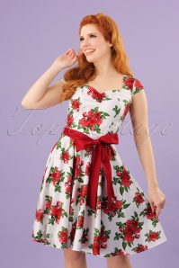 50s Lorene Floral Mini Dress in White and Red