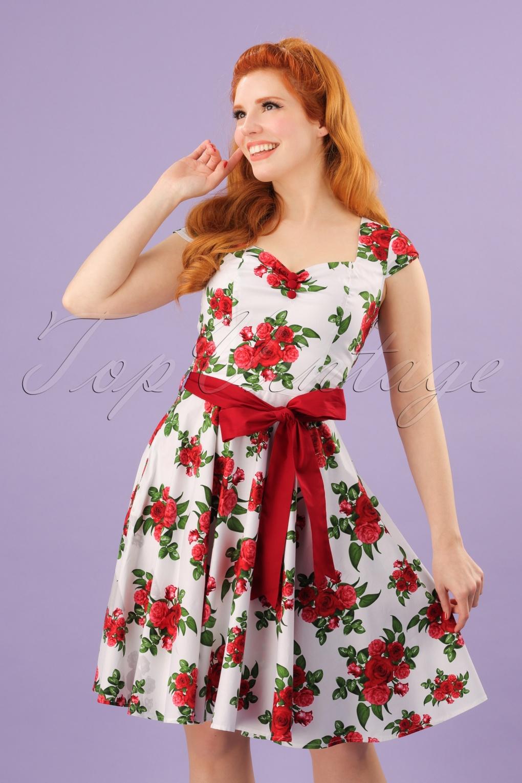 Vintage Tea Dresses, Floral Tea Dresses, Tea Length Dresses 50s Lorene Floral Mini Dress in White and Red £52.14 AT vintagedancer.com