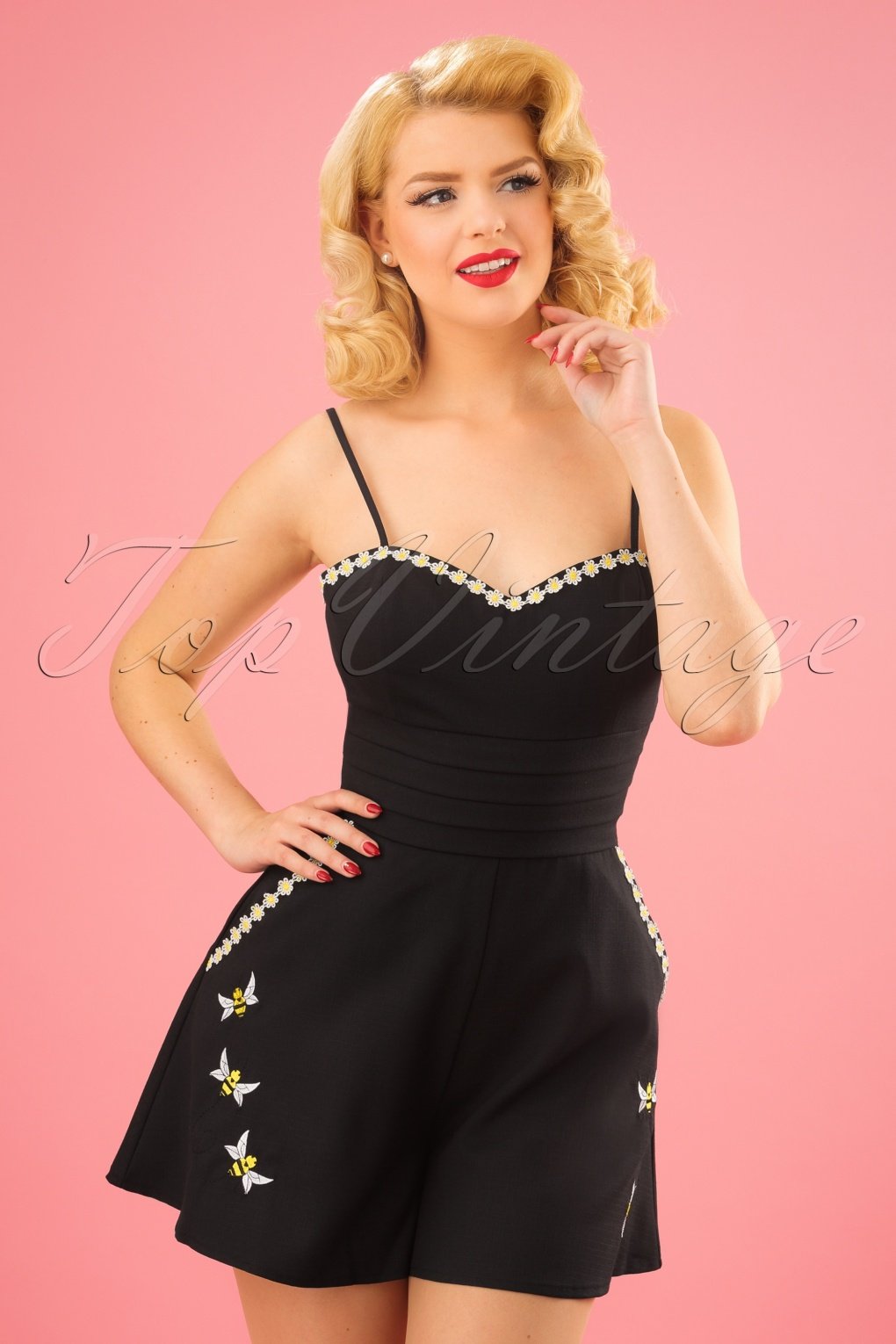 Vintage Rompers | Retro, Pin Up, Rockabilly Playsuits 50s Brittany Bee Playsuit in Black £46.57 AT vintagedancer.com