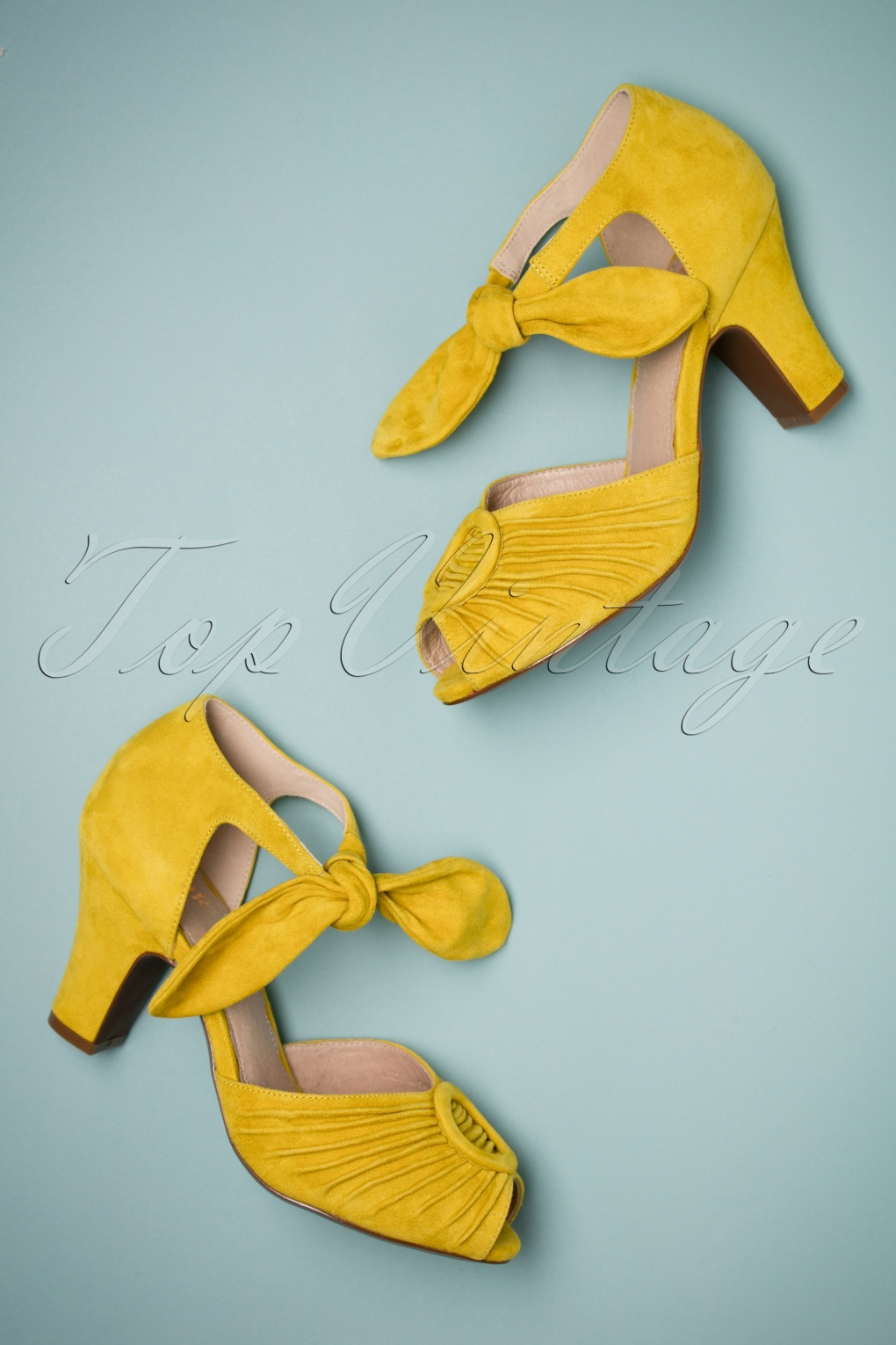 1940s Style Shoes, 40s Shoes 40s Loretta Suede Pumps in Custard Yellow £108.66 AT vintagedancer.com