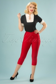 50s Holly Capri Pants in Red