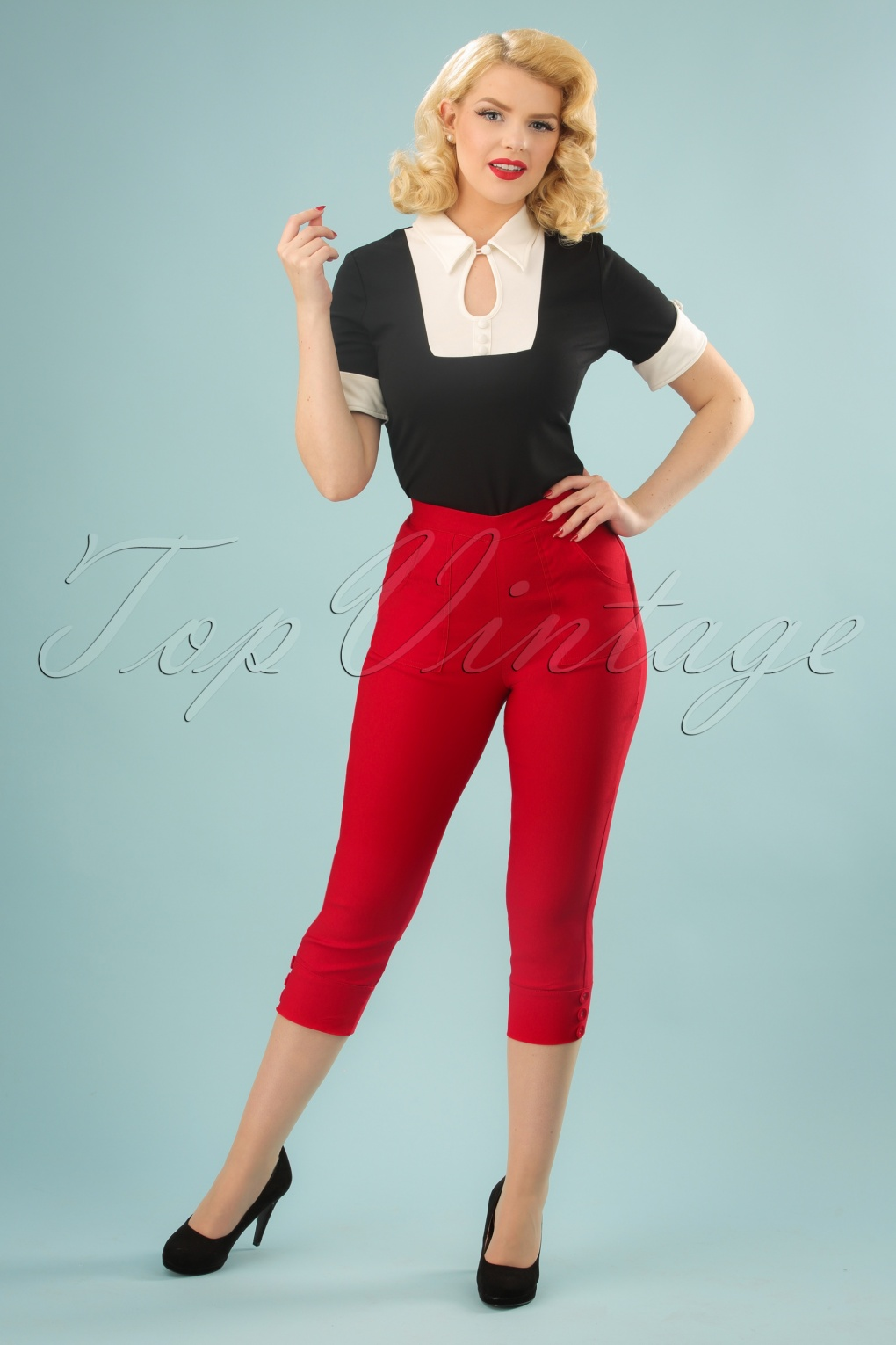 1950s Pants & Jeans- High Waist, Wide Leg, Capri, Pedal Pushers 50s Holly Capri Pants in Red £33.38 AT vintagedancer.com