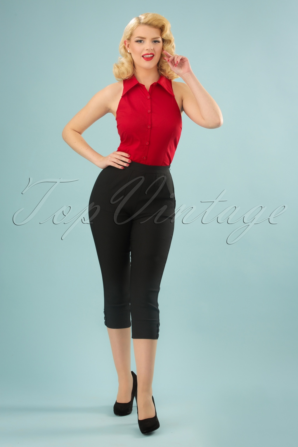 Vintage High Waisted Shorts, Sailor Shorts, Retro Shorts 50s Holly Capri Pants in Black £59.82 AT vintagedancer.com