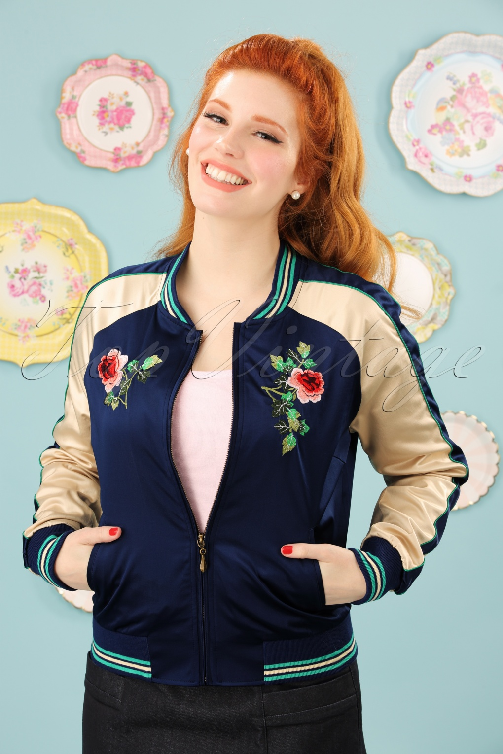 Vintage Coats & Jackets | Retro Coats and Jackets 50s Sayuri Baseball Jacket in Blue £120.92 AT vintagedancer.com