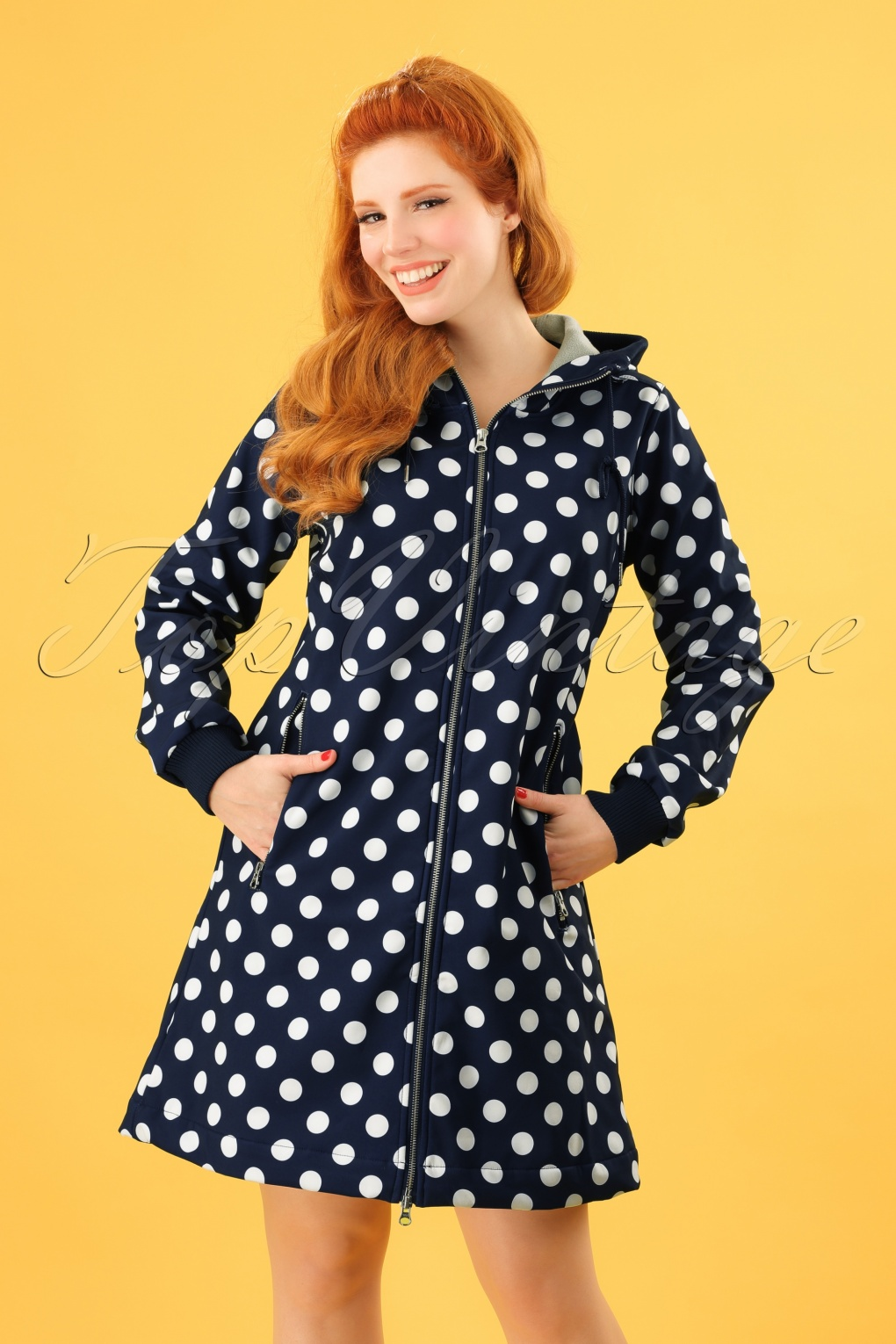 Vintage Coats & Jackets | Retro Coats and Jackets 60s Jane Softshell Polkadot Coat in Navy and White £143.65 AT vintagedancer.com