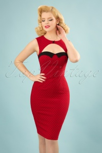 Bunny Miley Pencil Dress in Red and Black Polkadots 100 27 24034 20180305 0006W