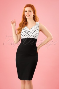 50s Cheryl Polkadot Pencil Dress in Black and White