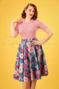 Lotus Swing Skirt Années 50 en Turquoise